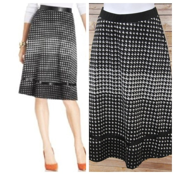 8737698658 NY Collection Skirts | A Line Skirt Faux Leather Trim Black White ...